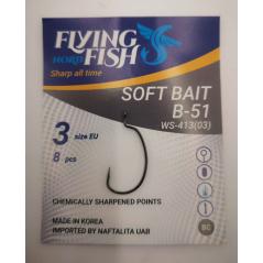 FLYING FISH kabliukai SOFT BAIT B-51 (Nr.4-3)