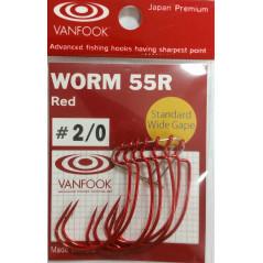 Vanfook Worm 55R Red (Nr.2/0-3/0) 7vnt/pak