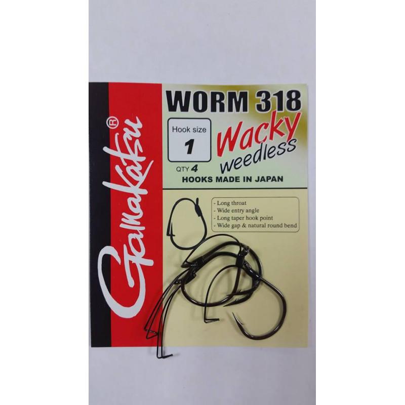 Gamakatsu kabliukai su apsauga Worm 318 Wacky (Nr.2-1/0) 4vnt/pak